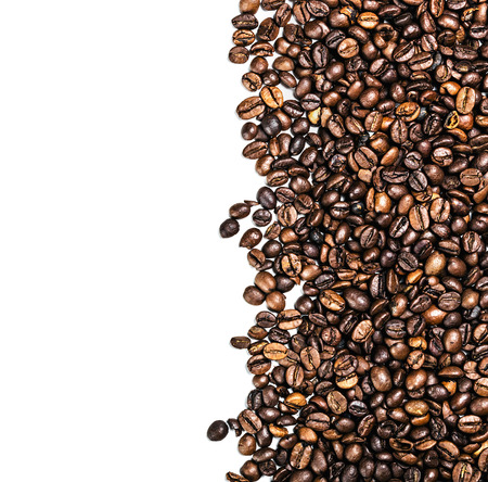 non alcoholic: roasted coffee beans isolated on white background