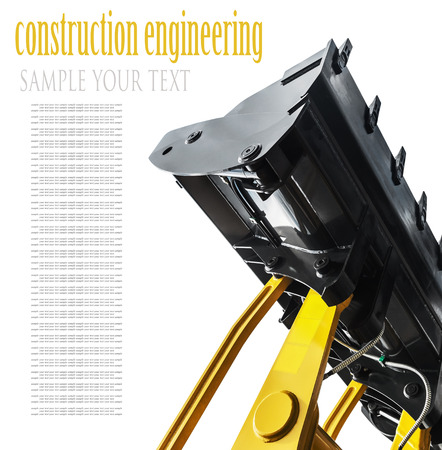deleted: Construction excavator bucket isolated on white background. text deleted