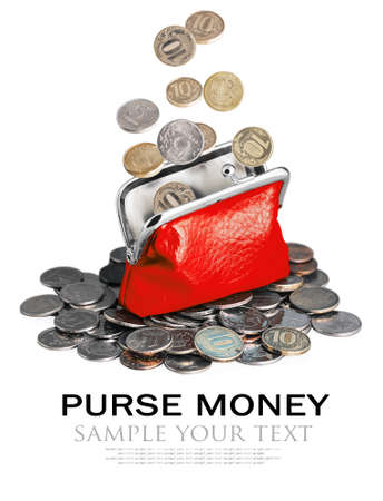 deleted: purse and coins isolated on white background. Sample text and deleted