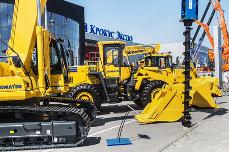 RUSSIA, MOSCOW - May 31, 2016: exhibits and construction equipment naInternational Specialized Exhibition of Construction Equipment and Technologies at Crocus Expo