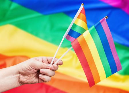 bandera gay: Textura de la tela del fondo de la bandera gay