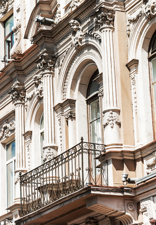 nevsky: view of the architectural elements of the buildings of the Nevsky Prospekt in St. Petersburg. Russia Stock Photo