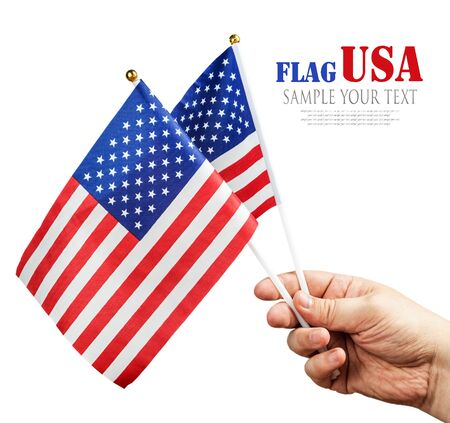 deleted: American flag in hand isolated on white background. text deleted Stock Photo
