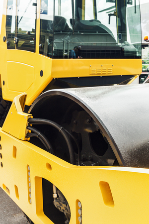 compacting: Construction compactor in the operation site closeup