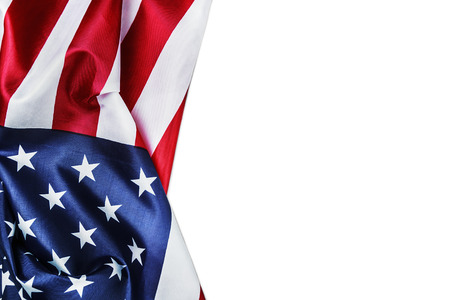 silk American flag isolated on white background