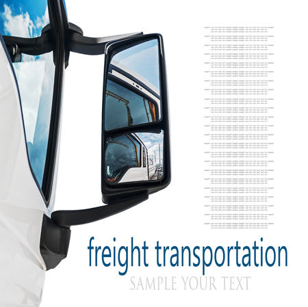 deleted: rear-view mirror on the truck. sky reflected in rear view mirror. focus on rear-view mirror. text deleted