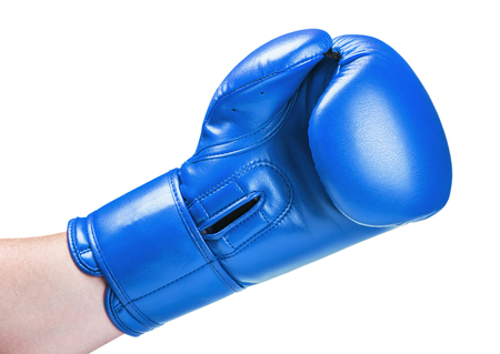 leather boxing glove red isolated on white background Stock Photo