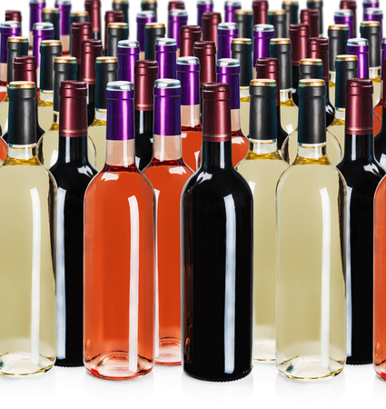 aligote: bottles of wine of different types isolated on a white background