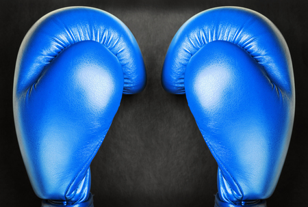 adversary: blue leather boxing gloves on a black background