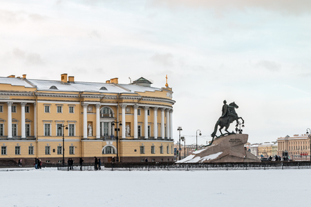 horseman: view of the statue of the Bronze Horseman in Saint Petersburg in the early winter morning, Russia
