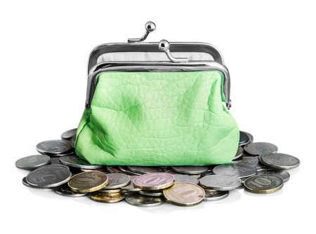 green purse and coins isolated on white