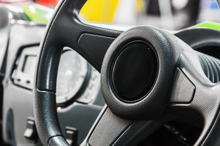 front panel and steering wheel of car