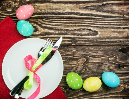 pascha: colored Easter eggs on wooden background decoration Stock Photo