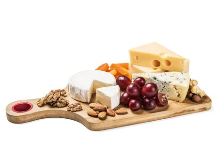 chees: Assorted fresh cheese isolated on white background