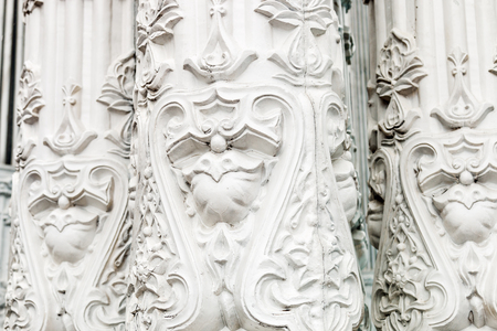 neogothic: Bas-reliefs and sculptural details in the design of stone art in the pavilions of the exhibition VDNH in Moscow