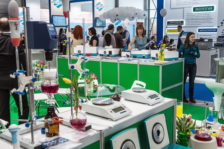 health care analytics: Moscow, Russia - April 11, 2017: 15th International Exhibition of Laboratory Equipment and Chemical Reagents Analytics Expo . Modern technologies in medical equipment