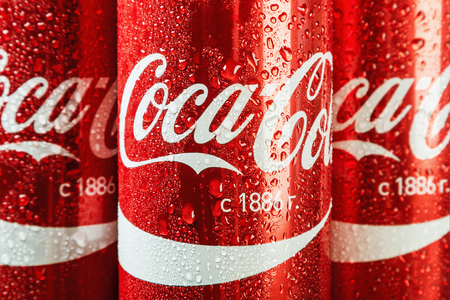 Moscow, Russia - April 13, 2017: Coca Cola in a tin can. Coca-Cola is a carbonated non-alcoholic beverage sold all over the world Editorial