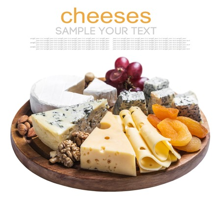 Assorted cheese with grapes and nuts isolated on white background. Text delete