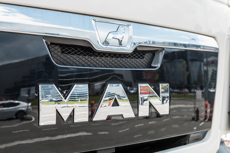 exposition: Moscow, Russia - may 30, 2017: name of the group Man on the front of the car the exhibition international specialized exhibition construction equipment and technologies CTT in Moscow. Editorial