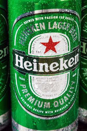 Moscow, Russia - April 13, 2017: Heineken beer global brand. Heineken Lager Beer is the flagship product of Heineken Editorial