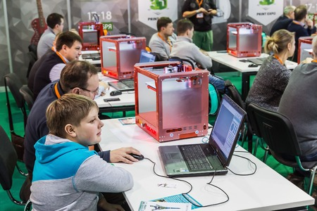prototyping: Moscow, Russia, November 17, 2016: 4th Annual International Conference and Exhibition of 3D printing and scanning 3D Expo 2016 in Moscow. Visitors view the exhibits of the exhibition