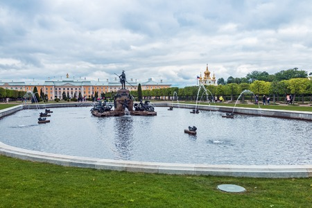 top 7: Saint Petersburg, Russia - July 7, 2017: view of the top Park of the Palace Pertergof. the gardens are located in Petergof, Saint-Petersburg, Russia.