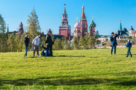 Moscow, RUSSIA - September 22, 2017: Pokrovsky Cathedral St. Basils and Moscow Kremlin from the Park Zaryadye in Moscow.