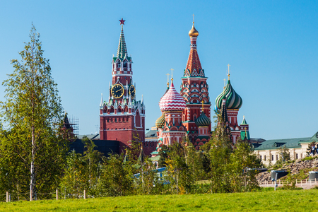 view of the Pokrovsky Cathedral St. Basils Cathedral with the Park Zaryadye in Moscow. Stock Photo