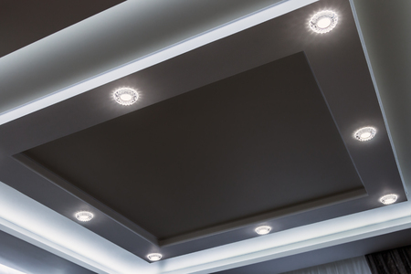 suspended ceiling and drywall construction in the decoration of the apartment or house