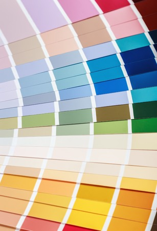 pallet with samples of different colors background Stock Photo