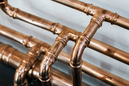 copper pipes and fittings for carrying out plumbing work.