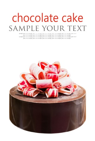chocolate cake with bow isolated on white background. text delete