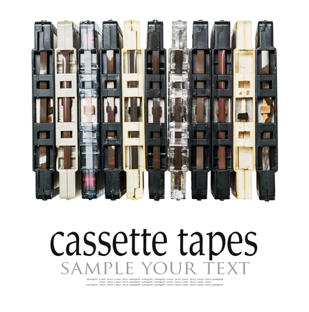 old and dirty audio cassettes isolated on white background. Text Delete