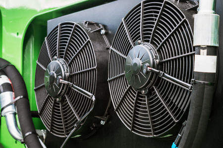 Fans of cooling system of the truck or other construction equipment Stock Photo