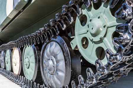 undercarriage with tracks and slides of military equipment, tanks, armored personnel carriers, self-propelled units, etc. Dolly video