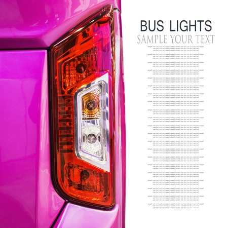 rear Parking lights of bus isolated on white background. Text delete