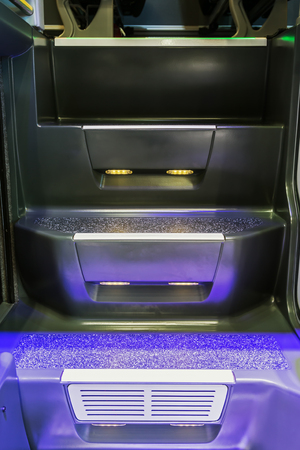 steps to the interior of a modern tourist bus. modern technologies in transport Imagens