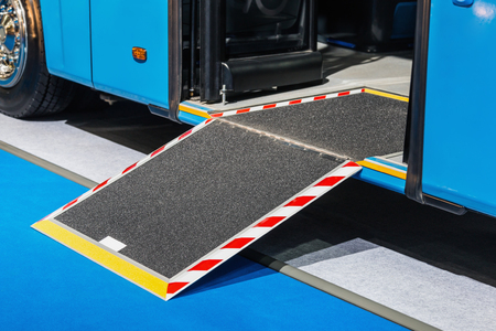 platform for wheelchairs in the cabin of a modern and comfortable city bus or electric bus Zdjęcie Seryjne