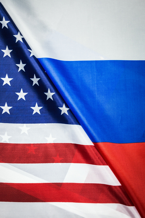 Usa flag and Russia flag background. Textile flags of the world