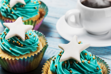Christmas cupcakes for Christmas and new year on the table Stock Photo