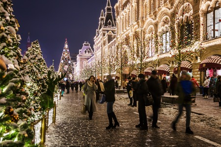 Moscow, Russia-December 25, 2018: beautifully decorated Moscow and red square for New year and Christmas. Walking people and tourists on the decorated streets and squares of the city