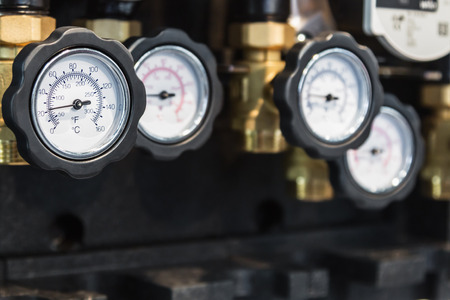 pressure gauge for measuring installed in water or gas systems. Plumbing, fixing pipes and fittings for connection of water or gas systems
