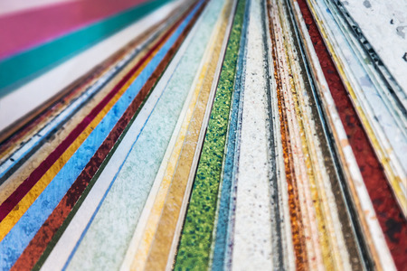 samples of melamine film materials for the cladding of countertops, panels, etc.