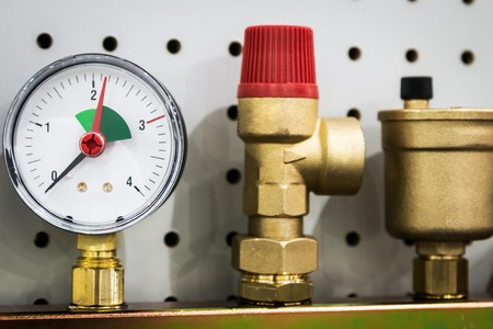 pressure gauge, fittings and valve, pipes and adapters. Plumbing fixtures and piping parts