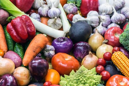autumn harvest of different vegetables and root crops. background of vegetables.