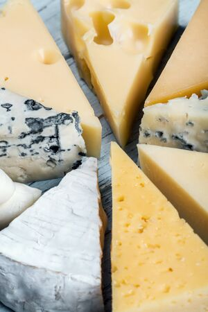different varieties of cheese, hard, brine, soft and with mold on the table