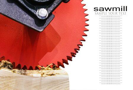 sawmill feeding discs in woodworking machine in woodworking factory or sawmill. Text delete