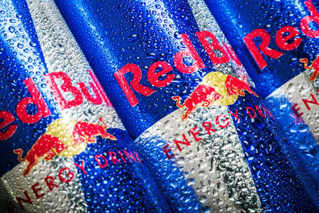 Moscow, Russia-June 16, 2020: carbonated Red Bull energy drink in aluminum cans with different flavors. Dietrich Mateschitz, an Austrian entrepreneur, The The