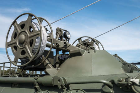 winch with a cable for self-healing is installed on military or construction equipment