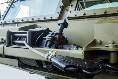 winch with a cable for self-healing is installed on military equipment or tractors Reklamní fotografie
